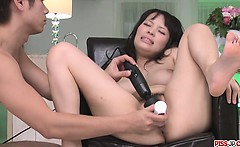 Kyouko Maki pussy gets worked by sex toys