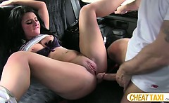 Cheater euro amateur gets screwed inside the taxi and