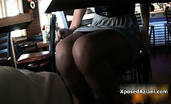 Sexy brunette babe gets horny showing
