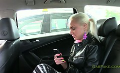 Hot blonde amateur banged in taxi in public