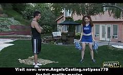 Amateur amazing redhead cheerleader teen training outside