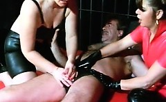 Horny bitch in leather lingerie