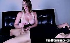 blonde busty femdom milking cock