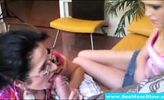 Spex mother and teen suck on hard dick