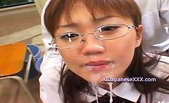Rin Naughty Asian schoolgirl in bukkake