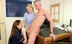 Femdom cfnm hot doctor sucks off patient
