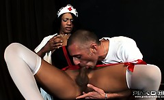 Slutty shemale nurse blows and gets blown by guy