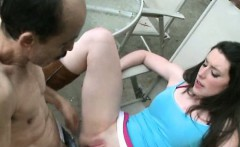 Pretty Brunette Teen Gets Fucked By Old Man On A Lawn Chair