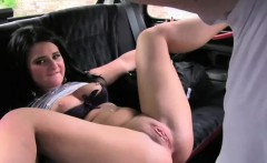 Busty British babe gets pussy creampie in taxi