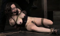 Ball gagged hogtied sub bastinado with heel