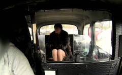 Hot British whore fucks in fake taxi on backseat