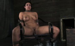 Mouth gagged female skank hogtied and handling machine