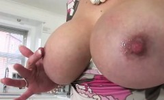Lady Sonia sucks and tugs dildo