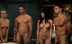 nasty busty babes group sex in the jail cell and bedroom