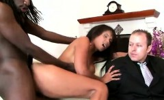 Big stacked brunette MILF smashed in front of her perv son