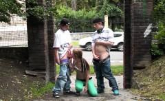 PUBLIC street gangbang with a teen girl Part 3