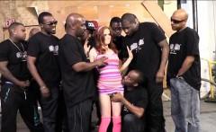 Big tits whore Penny Pax enjoying a big facial by black men