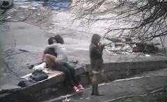 teen fucks fast on public street