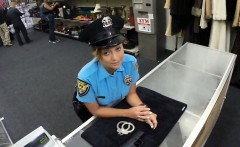 Lady police officer posing sexy on cam and gets fucked hard