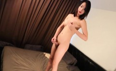 Sweet young ladyboy fingers her ass