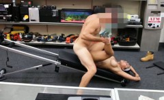 Masculine girl posed naked and pounded at the pawnshop