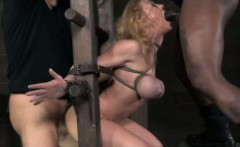 Restrained sub in roughsex threeway