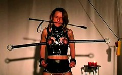 Brunette juggy stands terrible torture in her master dungeon