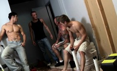 Gay orgy closeup with tattooed hunks and jock