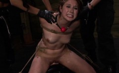 Redhead lezdomsub destroyed with strapons while bonded over