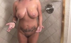 Soapy handjob milf in shower tugging on stepson