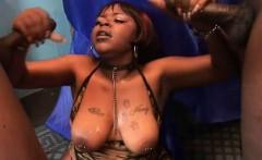 Big Booty Black Ghetto Slut Taking Facials In Threesome