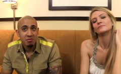 Stranded blonde turns into eager cumswallower