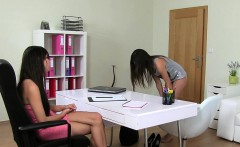 Lesbian amateur licks female agent on the couch euro licking