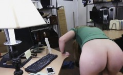 blonde with really nice tits banged on desk in pawn shop