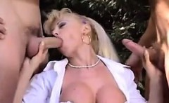 Blonde Whore Double Penetrated Outside