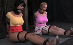 Mouth gagged skanks being tied up