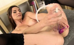 Pretty brunette enjoys anal play before masturbating