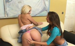 Petite lesbians feel each other up