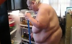 Old BBW Cleaning Up The House While Naked