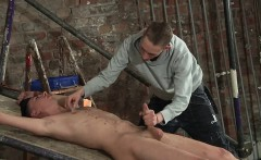 Ball tugging and furious cock stroking makes Riley cum hard