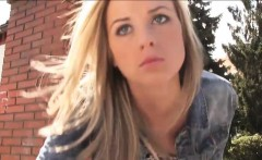 Pretty stranded teen Vinna Reed fucked by stranger in public