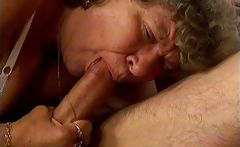 Horny grandma loves sucking some