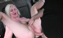 Blonde gets first time anal in a cab