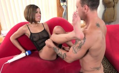black babe gets pussy fucked and a cumshot on feet