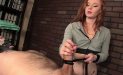 Ginger masseuse ropes up her clients cock