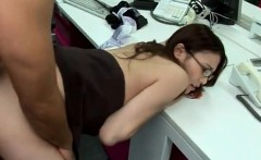 Sexy asian secretary nailed big time from behind during work