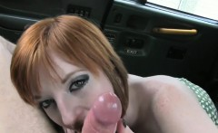 Horny redhead with big boobs gets fucked for her taxi fare
