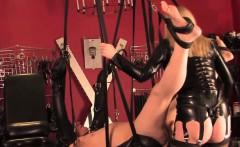 sadistic pvc mistress pegging submissive ass