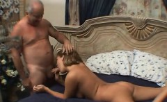 Sexy blonde gives Granpa some morning blowjob