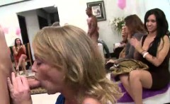 Strippers get blowjobs from CFNM amateur babes at party